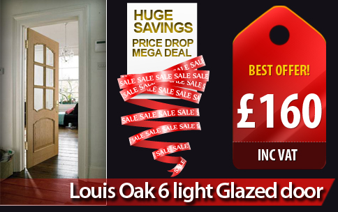 Internal Doors And Interior Doors On Offer Louise Oak 6 Glazed Special Deal